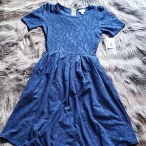 LulaRoe blue feather Amelia dress